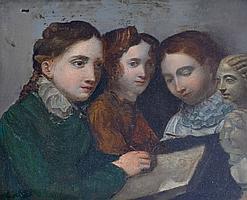 Ecole française XIXe. La leçon de dessin. Huile sur panneau. 21 x 28 cm