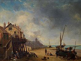 Ecole française du XIXe. Pêcheurs à marée basse en Normandie. Huile sur toile. 9