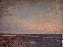 Jean Ferdinand CHAIGNEAU (1830-1906). Berger et troupeau dans les marais. Huile