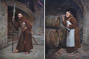 José FRAPPA (1854-1904). Moine en armure, et moine buveur. Paire d'huiles sur pa