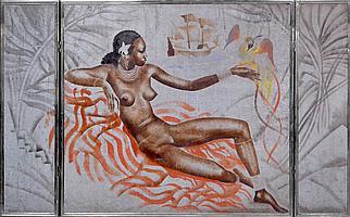 Milivoy UZELAC (1897-1977). La belle africaine au ara. Technique mixte en tripty