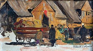 Fernand ALLARD L'OLIVIER (1883-1933). Scène de marché. Huile sur carton signée e