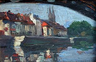 Fernand ALLARD L'OLIVIER (1883-1933) Reflets sous un pont. Huile sur panneau sig