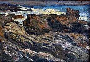 Fernand ALLARD L'OLIVIER (1883-1933) Côte rocheuse. Huile sur panneau signé et d