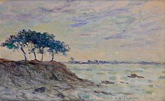 Maximilien LUCE (1858 - 1941). Pins sur la falaise à Kermouster. Huile sur carto