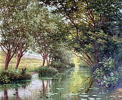 René Charles Edmond HIS (1877-1960). Rivière ombragée sous les arbres. Huile sur