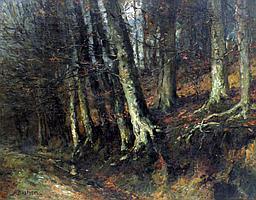 Alfred Théodore BASTIEN (1873-1955). Sous bois en automne. Huile sur toile signé