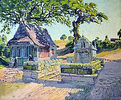 André LEVEILLÉ (1880-1963) Chapelle en Bretagne, 1916. Huile sur toile signée et