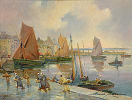 Henri BURON (1880-1969) . Pluie sur le port. Huile sur isorel signée en bas à dr