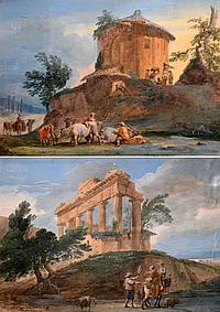 Jean Pierre Louis Laurent HOUEL (1735-1813). Passage du gué près d'un temple en