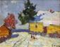 MARKOV Eugène. Les enfants dans la neige. Huile sur panneau. 20x25 cm