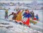 DROZDOVA Elena. Les patineurs. Huile sur toile. 24x30 cm