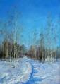 POUSSOVSKY Vladimir. Chemin dans la neige. Huile sur carton. 35x25 cm