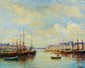 E. Morel. Port en Normandie. Huile sur panneau. 22x27 cm