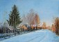 POUSSOVSKY Vladimir. Village au coucher du soleil. Huile sur carton. 22x30 cm
