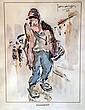 ZANAROFF (1885-1966). Le clochard. Aquarelle et encre signée et datée 47 en haut à droite. 25 x 18 cm