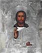 ICÔNE russe, représentant une Christ bénissant, la riza en argent. XIXe-Xxe.