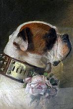 François DURANTI (Naples 1857 - ? après 1900). Saint Bernard au collier fleuri d