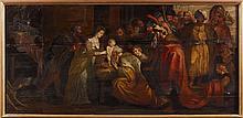 Ecole flamande XVIIe L'adoration des rois mages. Grand panneau trois planches. (