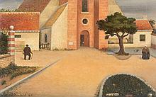 René RIMBERT (1896-1991). Petit paysage ensoleillé, 1955. Huile sur panneau sign