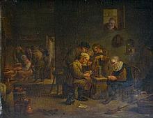 Ecole XIXe dans le goût du XVIIe. Joueurs de cartes dans un intérieur. Panneau de chêne. 38,5 52 cm