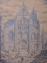 P. GILLET, XIXe. L'église de Taverny,1862. Mine de plomb signée et datée en bas