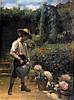 François DURANTI (Naples 1857 - ? après 1900). Le petit jardinier. Pastel signé
