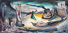 Henri GOETZ (1909-1989). Composition, 1944. Huile sur toile signée en bas à droi