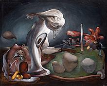 Henri GOETZ (1909-1989). Composition, 1939. Huile sur papier marouflé sur pannea