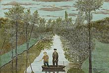 André BAUCHANT (1873-1958). Barque au clair de lune, 1923. Huile sur panneau sig