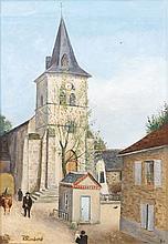 René RIMBERT (1896-1991). L'église de Perpezac-le- Noir en Corrèze, 1924 (au pre