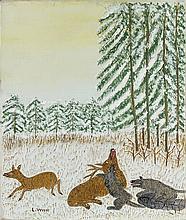 Louis VIVIN (1861-1936). Loups attaquant un cerf. Toile signée en bas à gauche.