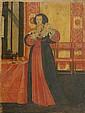 Abraham BOSSE (1602-1676) (Dans le goût de). Jeune femme se coiffant. Papier mar