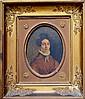 Ecole française vers 1830. Portrait de femme brune. Huile sur toile à vue ovale.