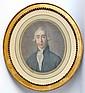 Ecole française XVIIIe. Portrait d'homme de qualité. Gravure à l'aquatinte en co