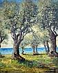 René SEYSSAUD (1867-1952). Oliviers en bord de mer. Huile sur toile signée en ba