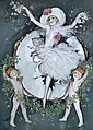 Marcel BLOCH (1884-?) Femme au pétales de fleurs. Aquarelle et gouache signée en