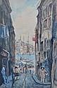Fred PAILHES (1902-1991). Rue de Marseille, vue sur le Vieux Port et la Bonne Me