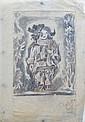 Pedro FLORES (1897-1967) Fillet en arlequin. Crayon noir et rouge, sur papier fi