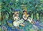 Nathan GUTMAN (1898-1978) Deux enfants musiciens en sous-bois. Gouache signée en