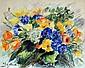 IZELLO (?). Bouquet de bleuets et fleurs des champs. aquarelle et pastel, signé