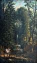 Ecole XIXe. Promenade près de la cascade. Huile sur panneau. 22 x 13,5 cm