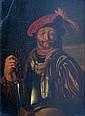 Ecole XIXe. Homme en armure au chapeau rouge. Huile sur panneau (fente dans le