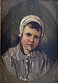 Ecole XIXe. Fillette au bonnet. Huile sur panneau. 15,5 x 11 cm
