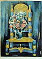 Tony AGOSTINI (1916-1990). Nature morte au bouquet et à la chaise. Lithographie