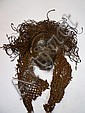 RDC.   TSHOKWE.   Masque avec importante coiffe d'origine.   Bois, fibres.     H: 23 cm   (