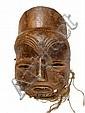 RDC.   MBUNDA.   Important masque à patine brique, et restes de coiffe.   Bois, fibres