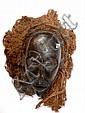 RDC.   TSHOKWE.   Masque avec son importante coiffe d'origine et de fibres.   Bois, fi