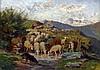 Jules Bertrand GÉLIBERT (1834-1916), chèvres et boucs s'abreuvant. Huile sur car