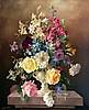 Harold CLAYTON (1896-1979) Vase de fleurs sur un entablement. Huile sur toile si
